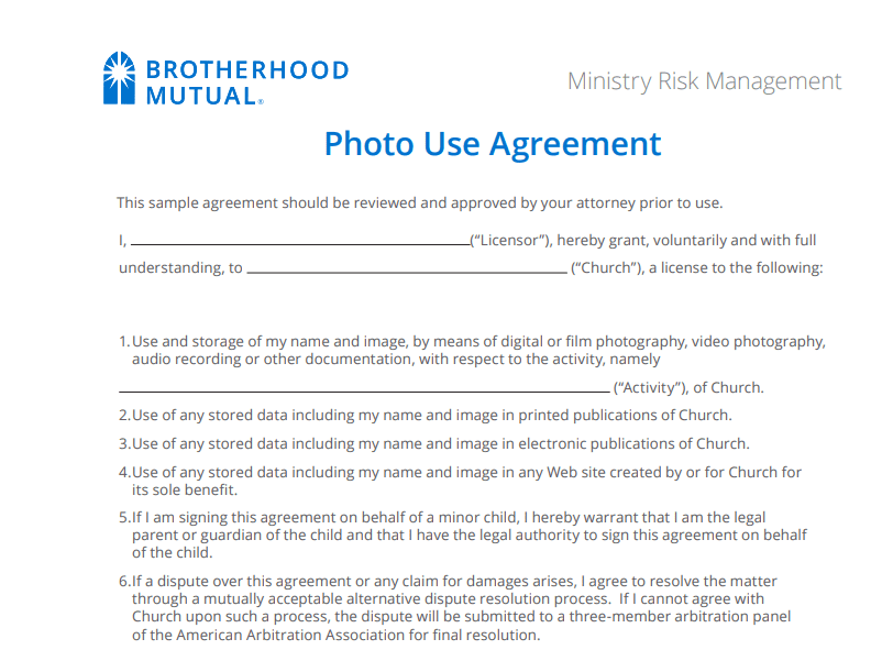 brotherhood mutual photo use agreement