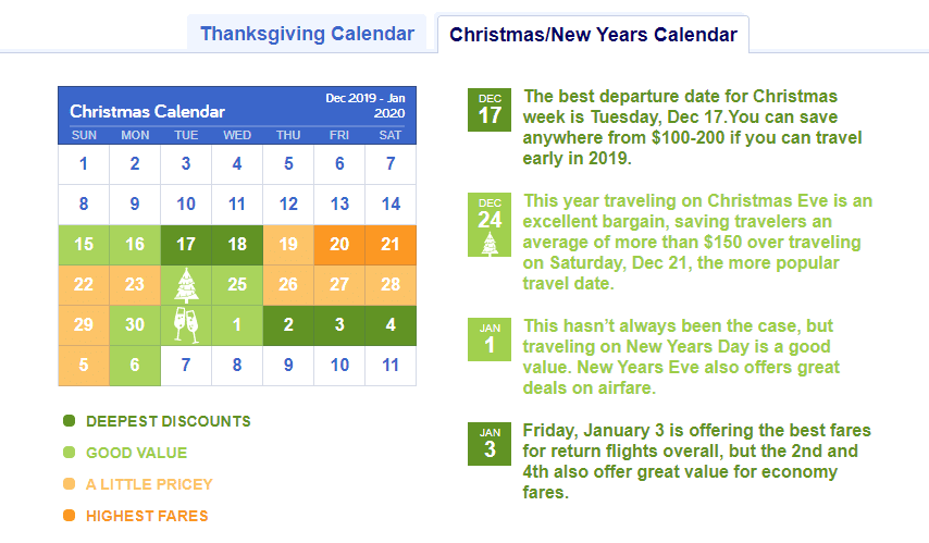 christmas calendar holiday airfare