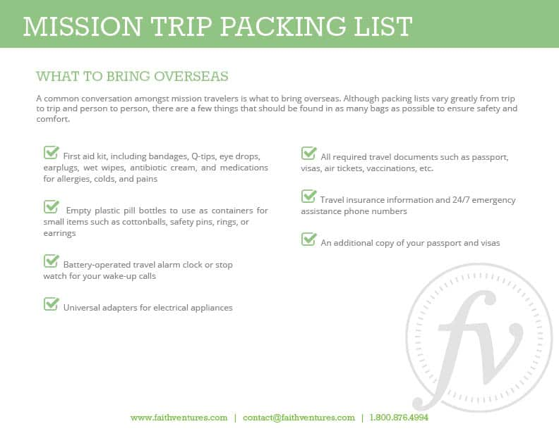 Your Mission Trip Packing List